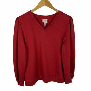 Knox Rose Red V-Neck Balloon Sleeve Sweatshirt XL